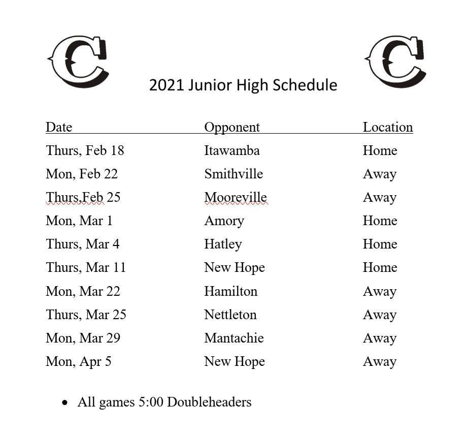 2021 CMS Baseball Schedule