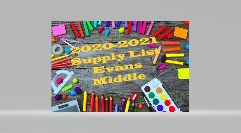 evans middle student supply list