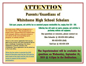 Superintendent Nielson will be available on September 18 at 4:15 pm to answer questions about fees & fee waivers.