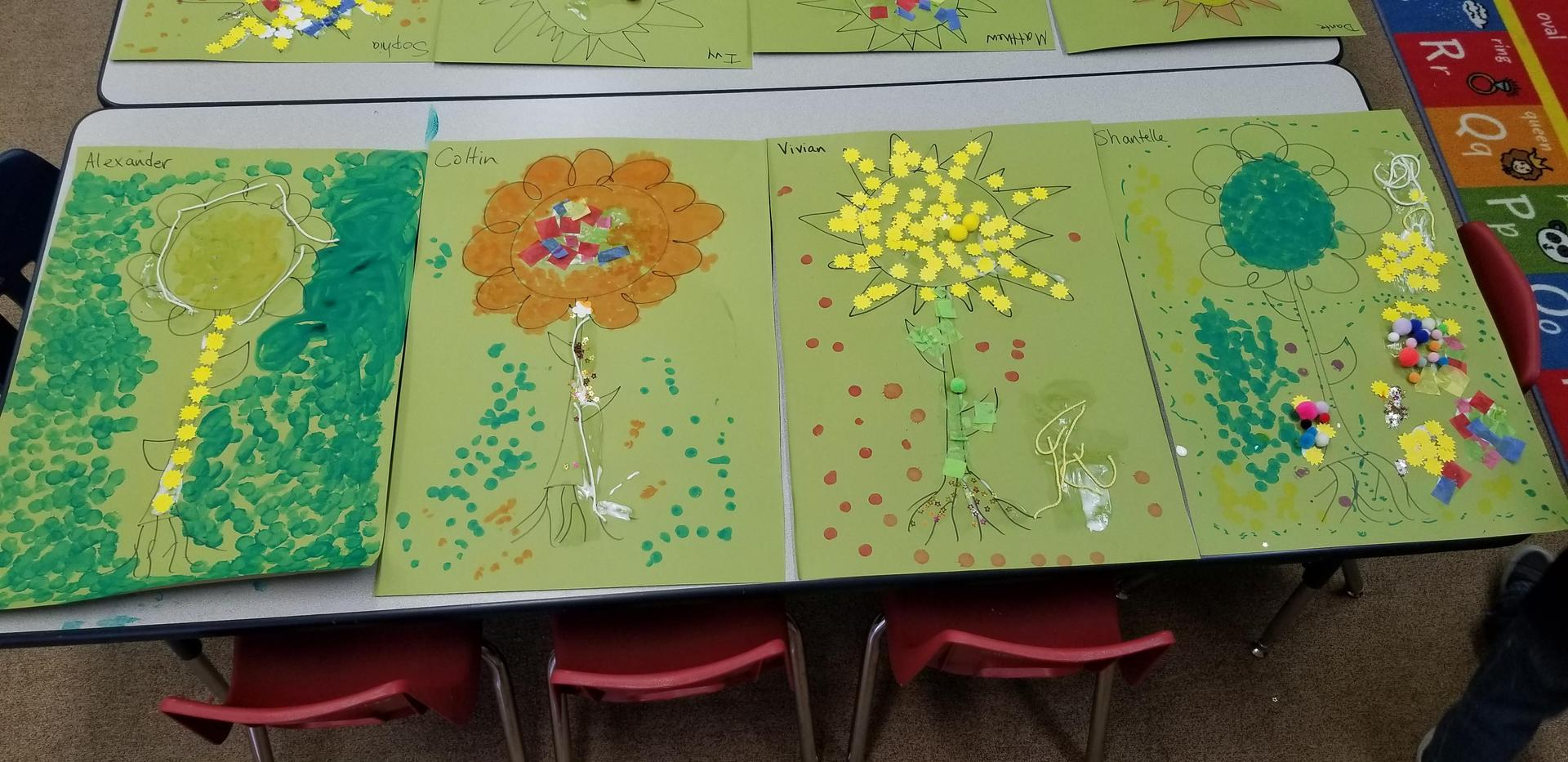 Kids made art flowers