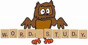 Owl holding a sign that says 'Word Study'