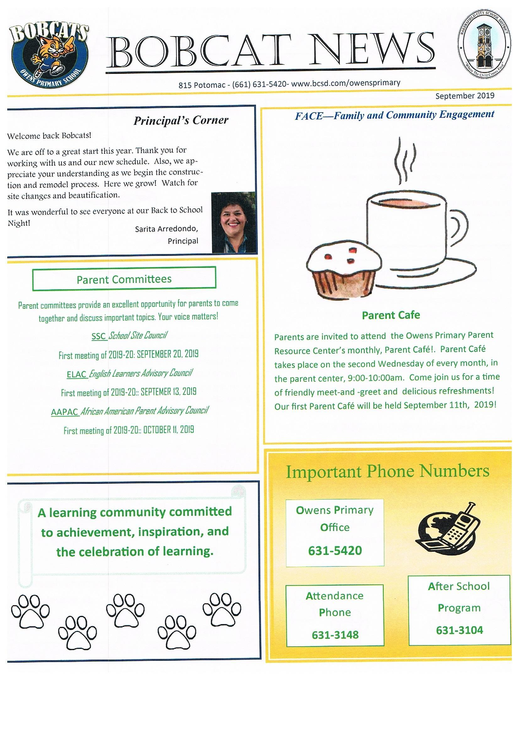 September Bobcat Newsletter English