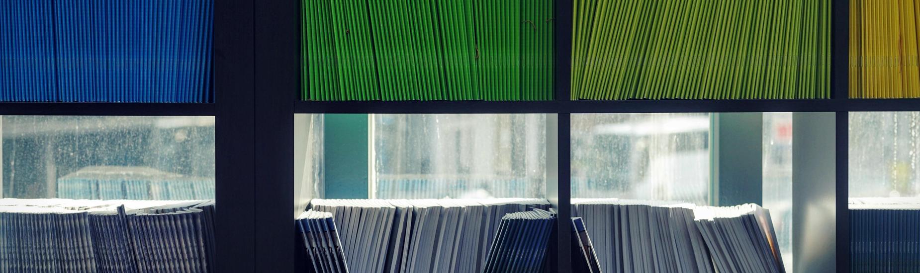 books in window