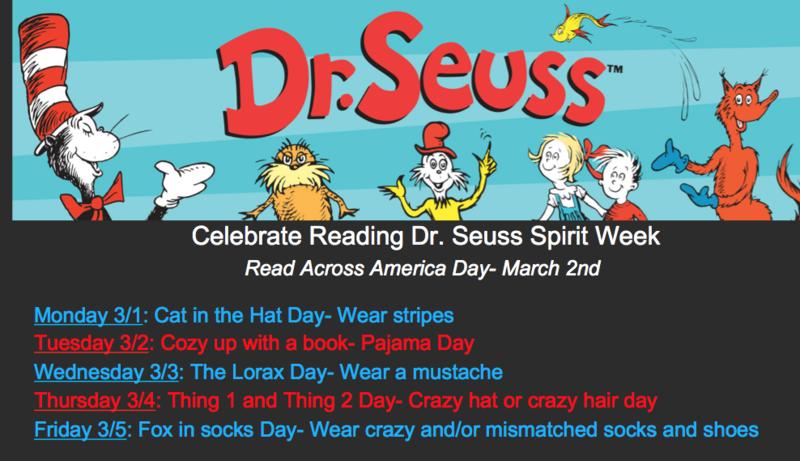 Celebrate Reading Dr. Seuss Spirit Week 5/1-5/5 Featured Photo