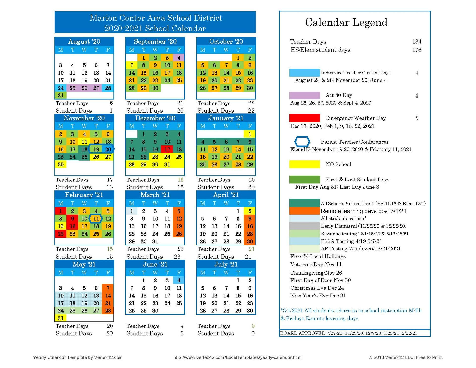 20-21 Revised School Calendar