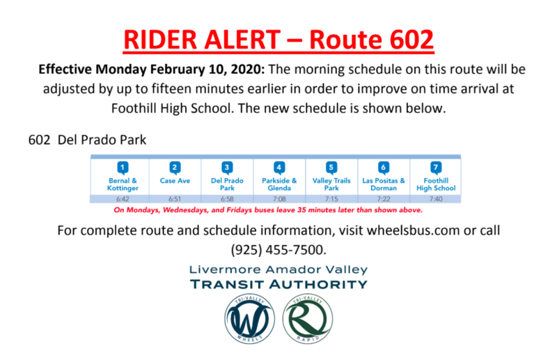 WHEELS Bus Schedule Change Route 602 Featured Photo