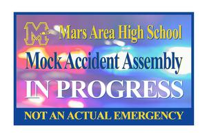 Mars Area High School MOCK ACCIDENT Assembly in progress.