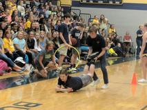 Students participating in a game during the pep rally!