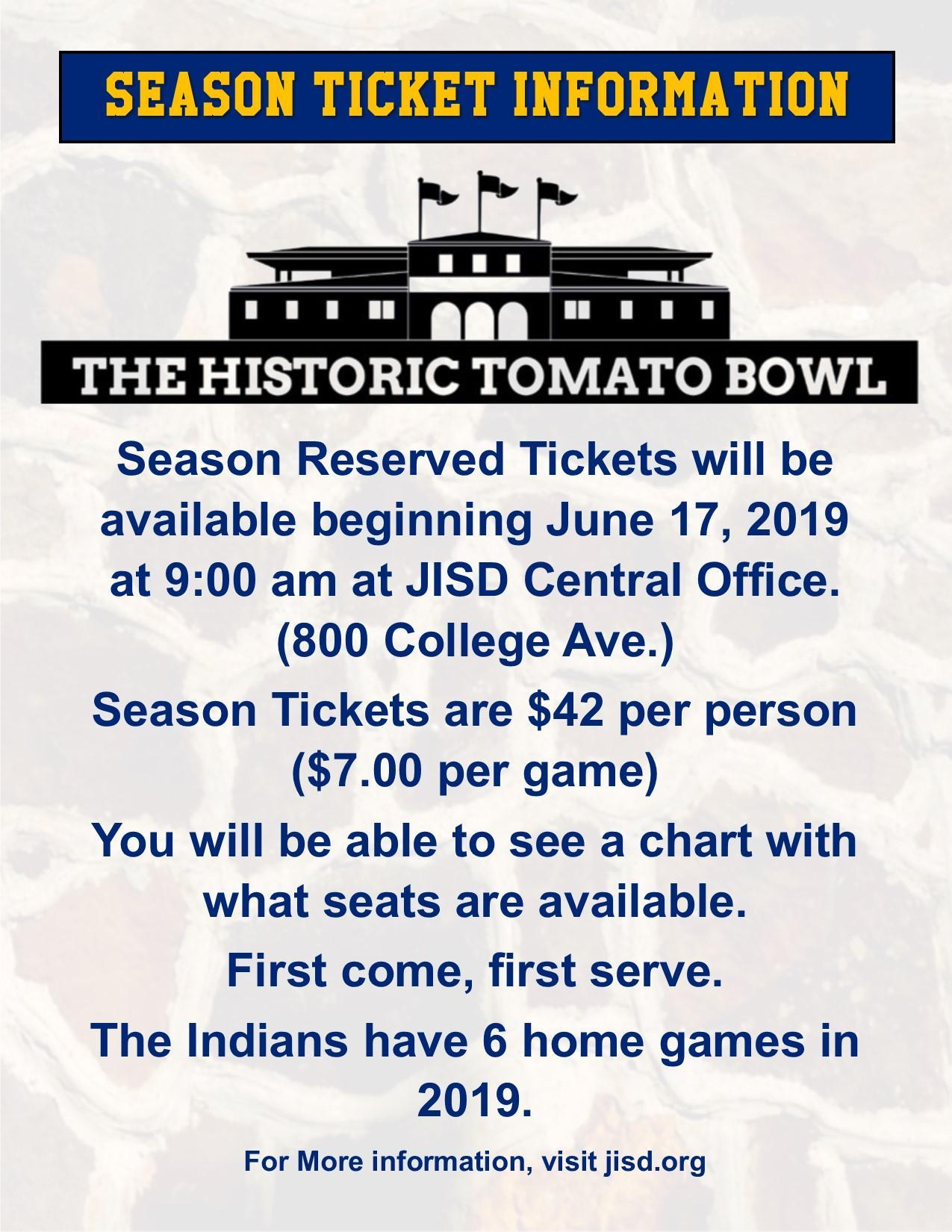 flyer with season ticket information about the Tomato Bowl stadium