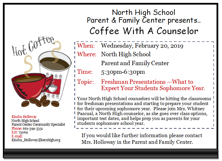 Wednesday, February 20th Coffee With A Counselor-Freshman Presentations Thumbnail Image
