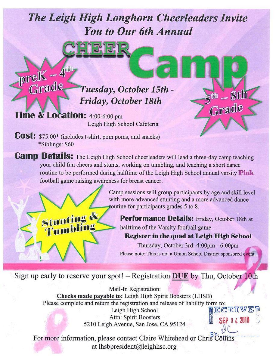 Leigh High Cheer Camp