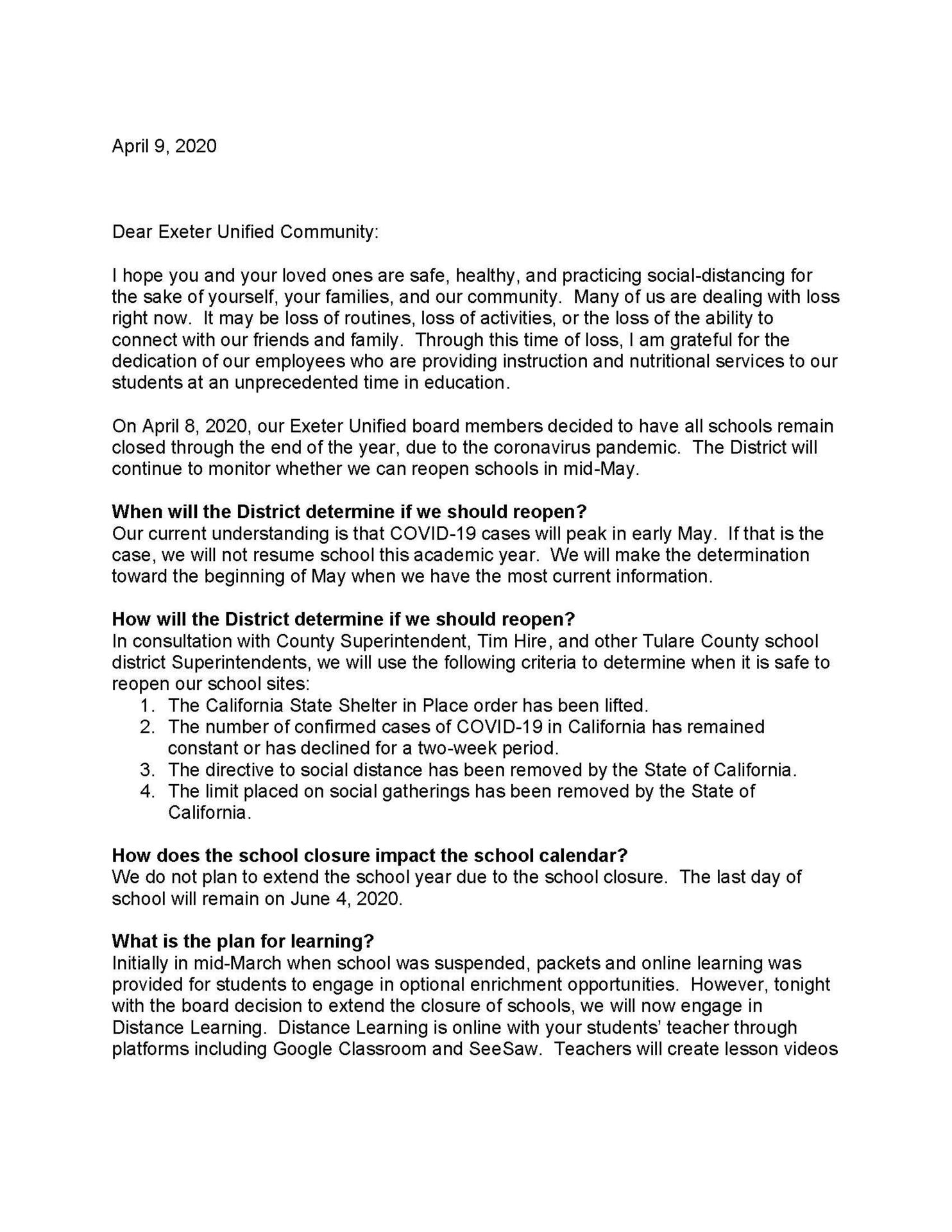 EUSD Superintendent's Community Letter- English page 1
