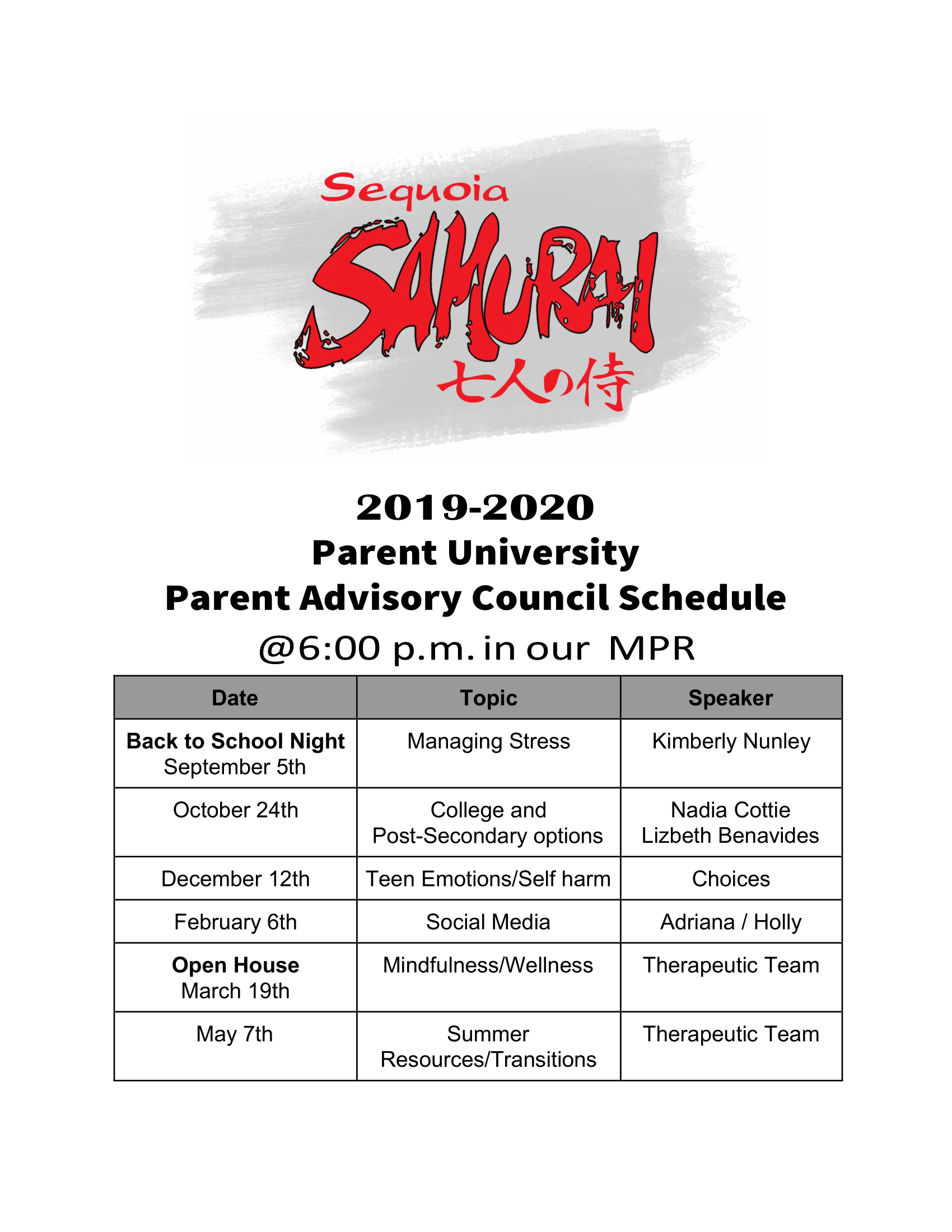 PAC Meeting Schedule