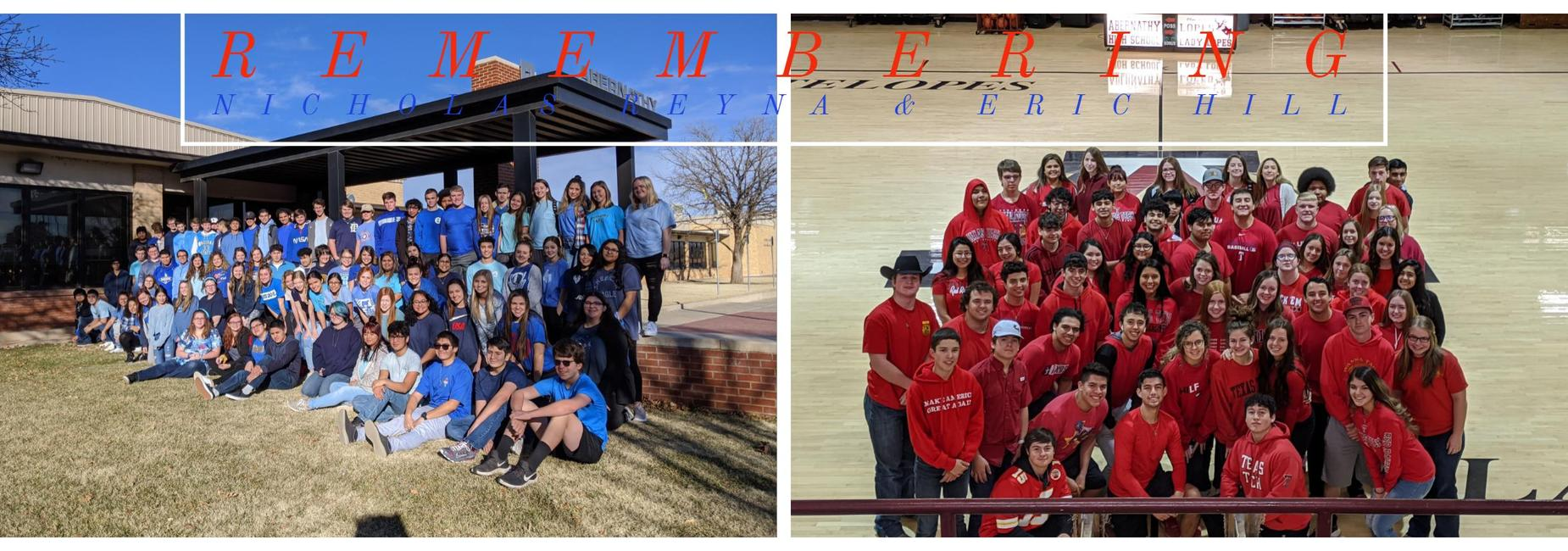 Students wear blue and red to honor fallen first responders