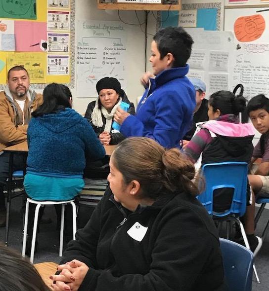 Photo of teacher talking to parents