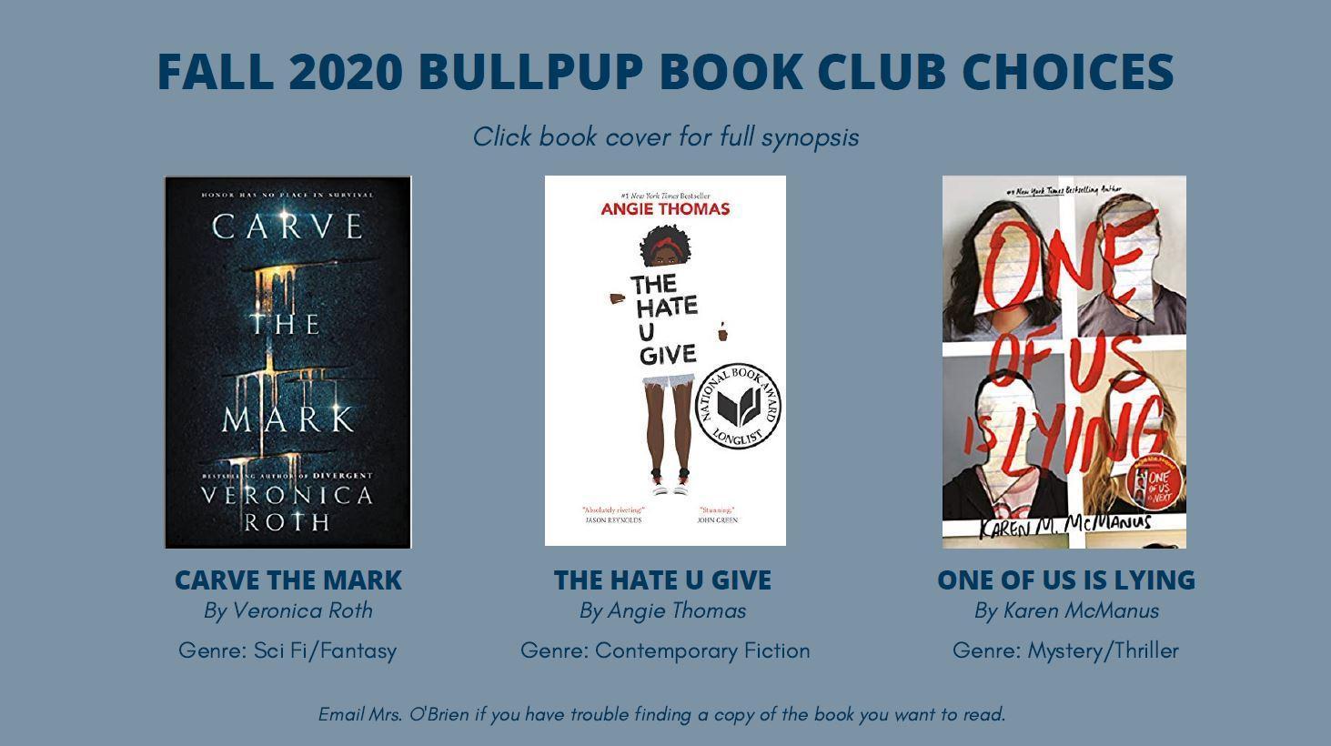 Book Club - Fall Student Choices