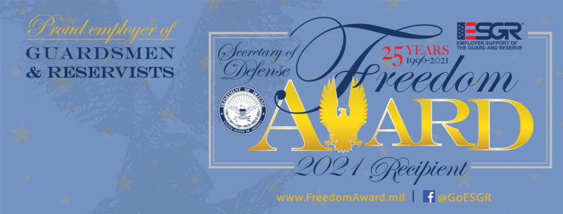 YSD One of the Recipients of the 2021 Secretary of Defense Employer Support Freedom Award Thumbnail Image