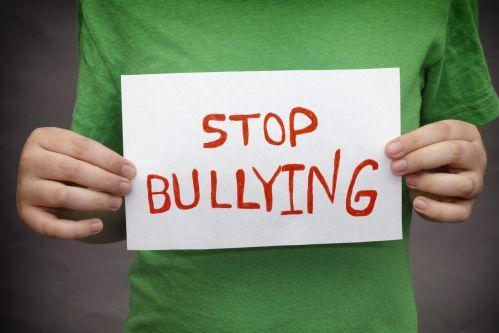 Person holding a sign saying stop bullying