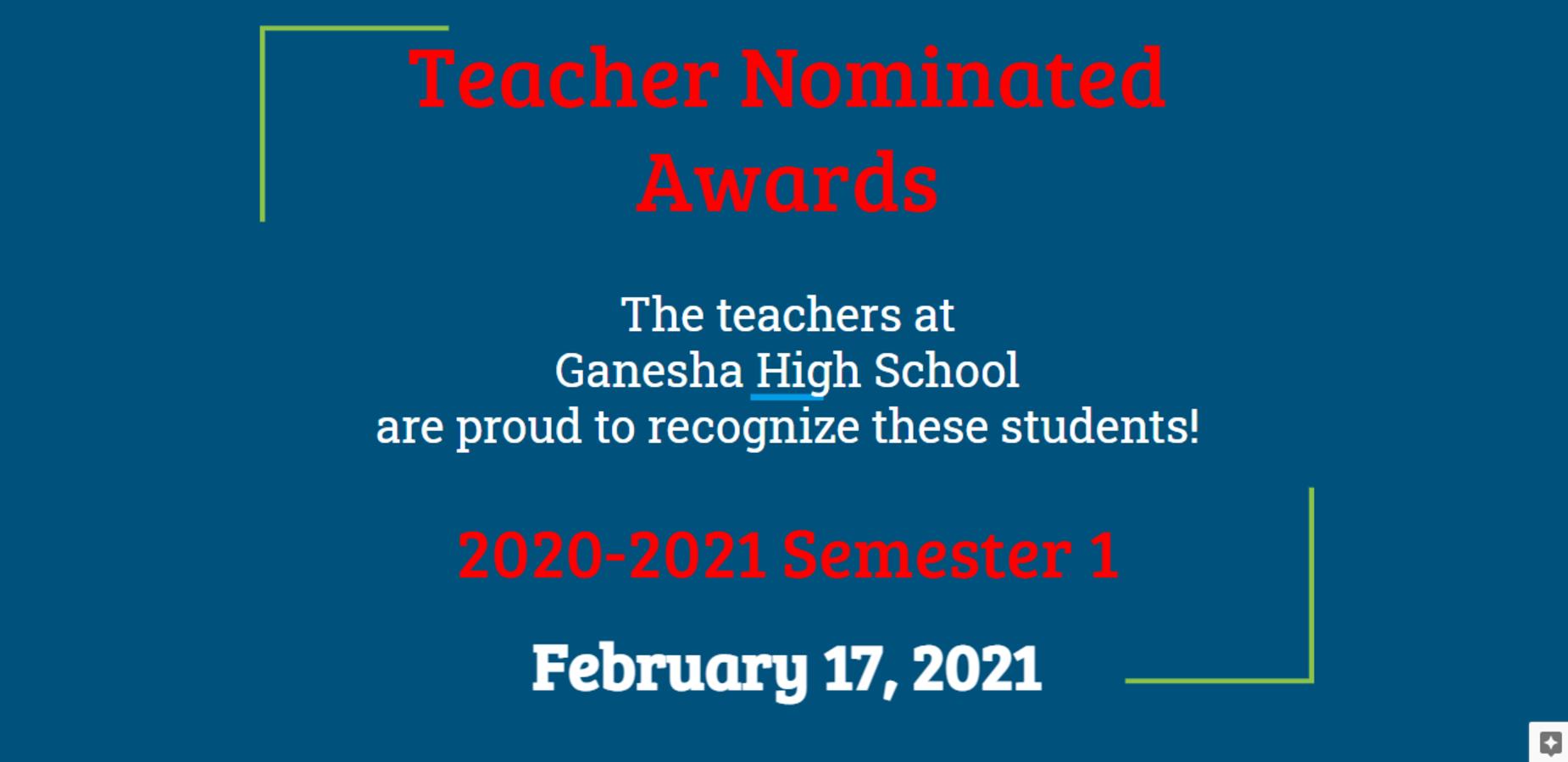 Teacher Nominated Awards
