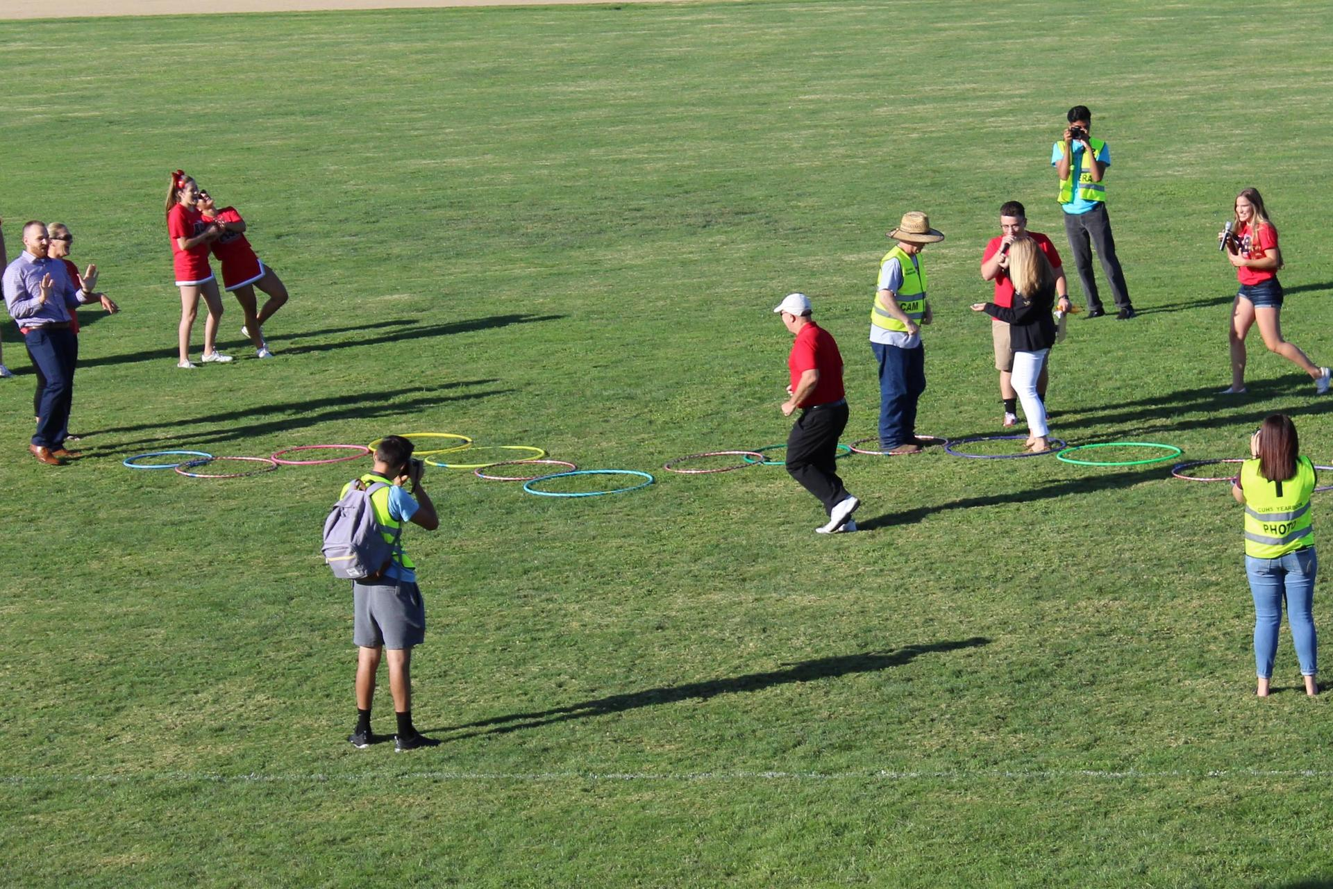 students playing a rally game