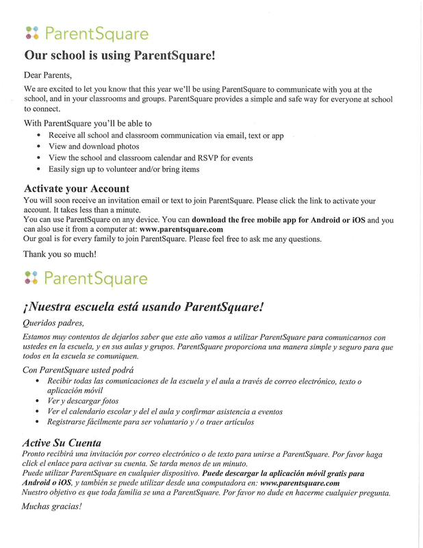 Please join ParentSquare / Por favor únase a ParentSquare Featured Photo