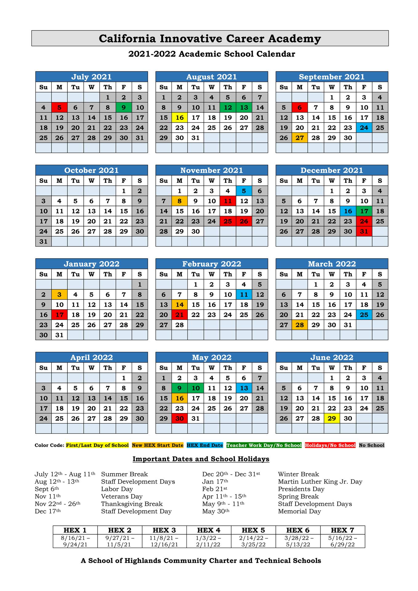 Calendar 21-22