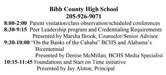 BCHS 8 am - 2 pm Parent Visitation Day February 12