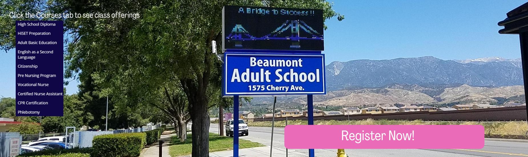 Beaumont Adult School Marquee