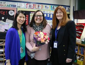Photo of Philhower Award winner Jefferson School 4th grade teacher Anna Carissimo with Superintendent Dr. Margaret Dolan and principal Dr. Susie Hung.