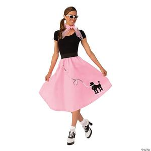 image of a girl dressed 50s style in poodle skirt scarf and sunglasses