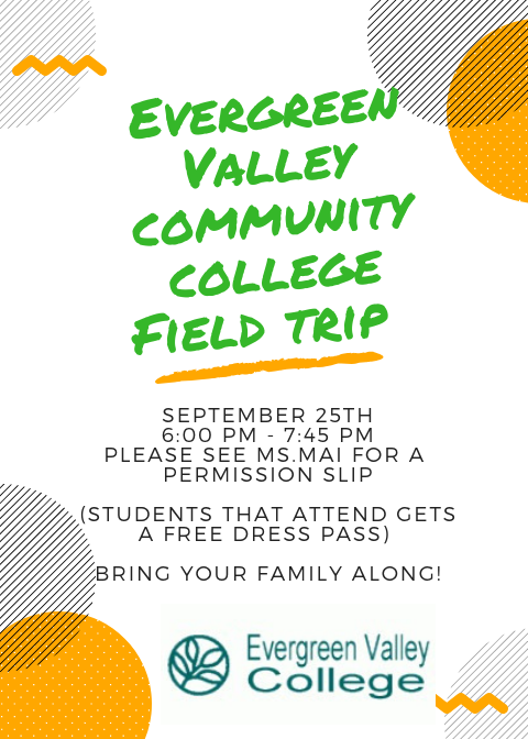 A flier for the EVC field trip in English.
