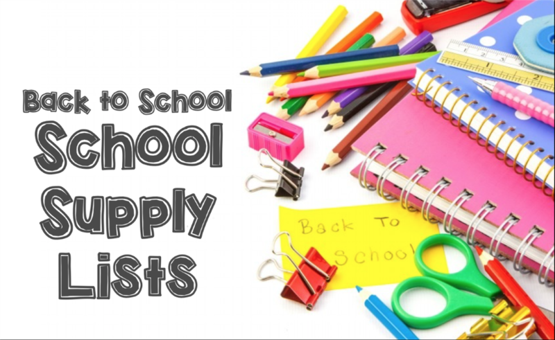 School Supply lists text with scissors, crayons, paper, pens and pencils in the background