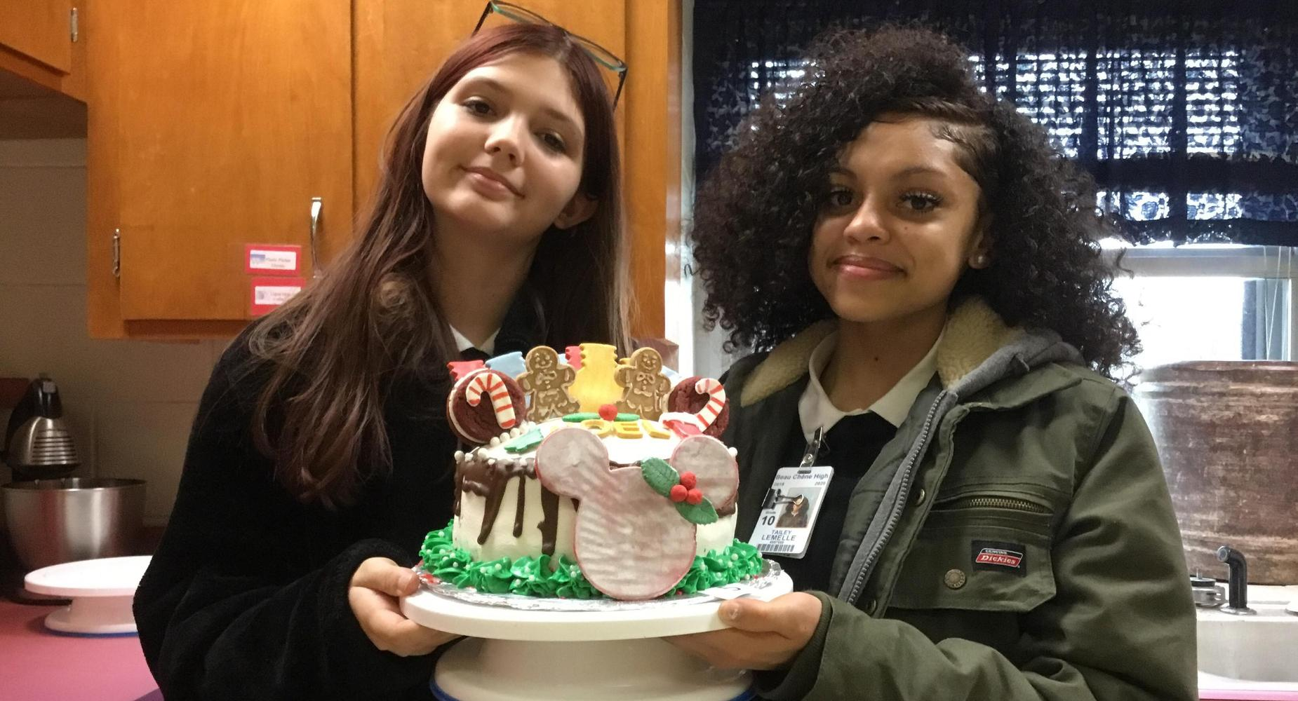 Advanced Nutrition & Foods classes designed, baked and decorated their own cakes.   Tailey L. and Makayla designed and decorate their own cake.
