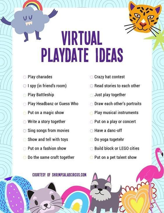 Virtual playdate ideas list