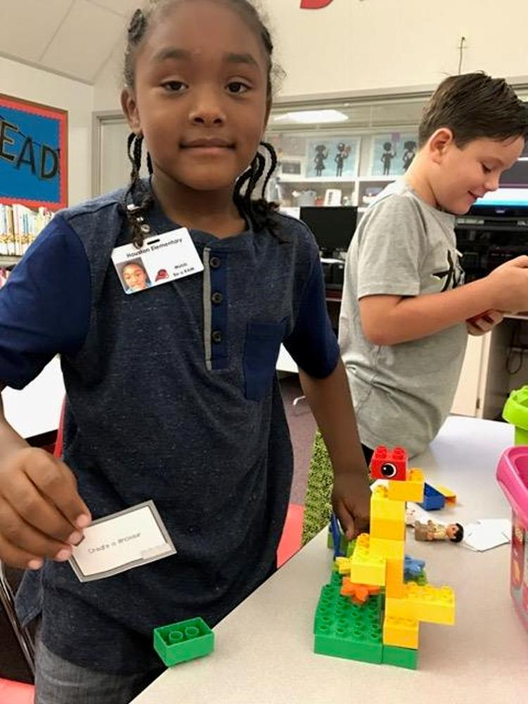 Building with Legos in the library