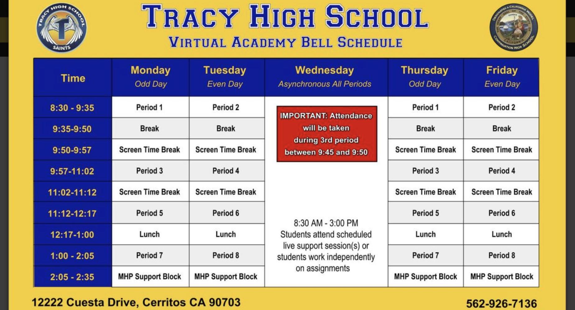 Virtual schedule of classes