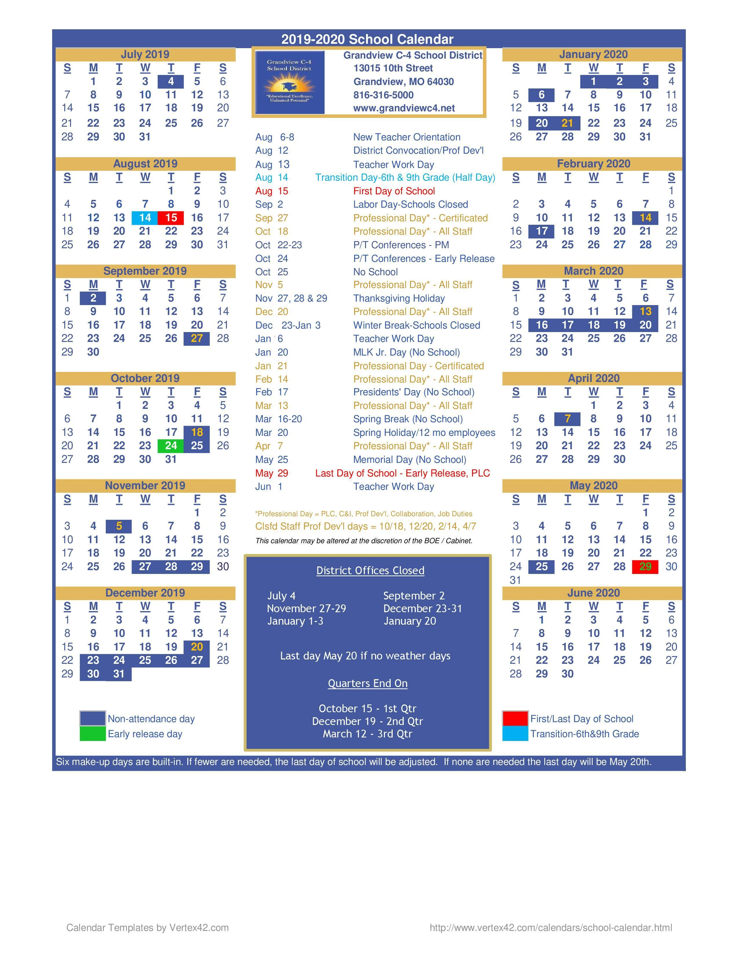 District 51 Calendar 2020 District Calendar – District Calendar – Grandview C 4 School District