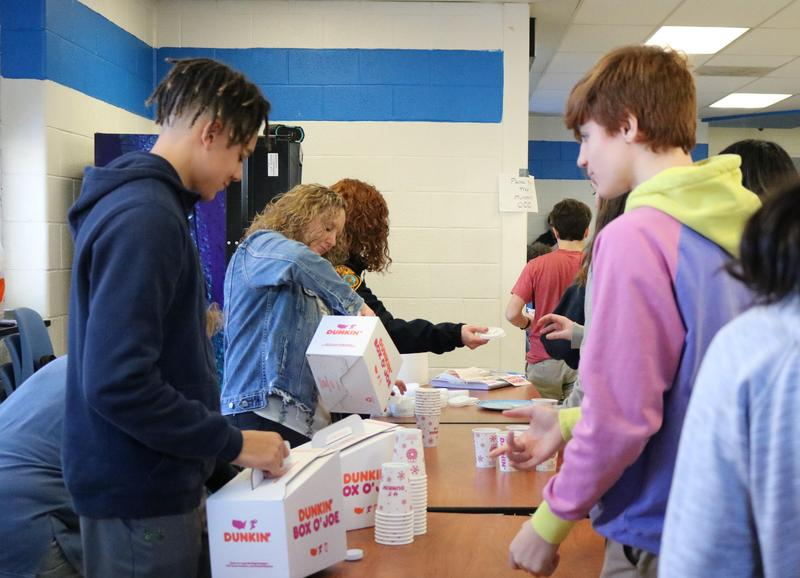 WHS students line up to receive hot chocolate as part the annual Hot Chocolate Holiday event hosted by the Dream Team and sponsored by the Westfield Municipal Alliance.