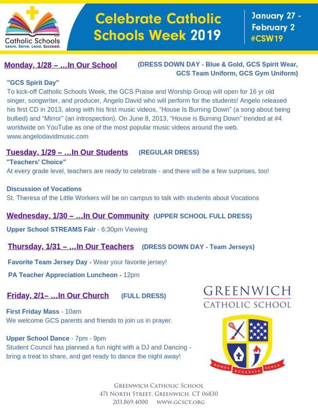 GCS Catholic Schools Week Schedule Announced! Thumbnail Image