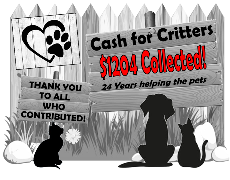 Cash for Critters final total - $1204