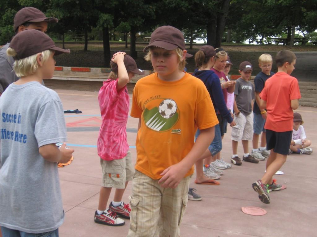 kids playing game at camp