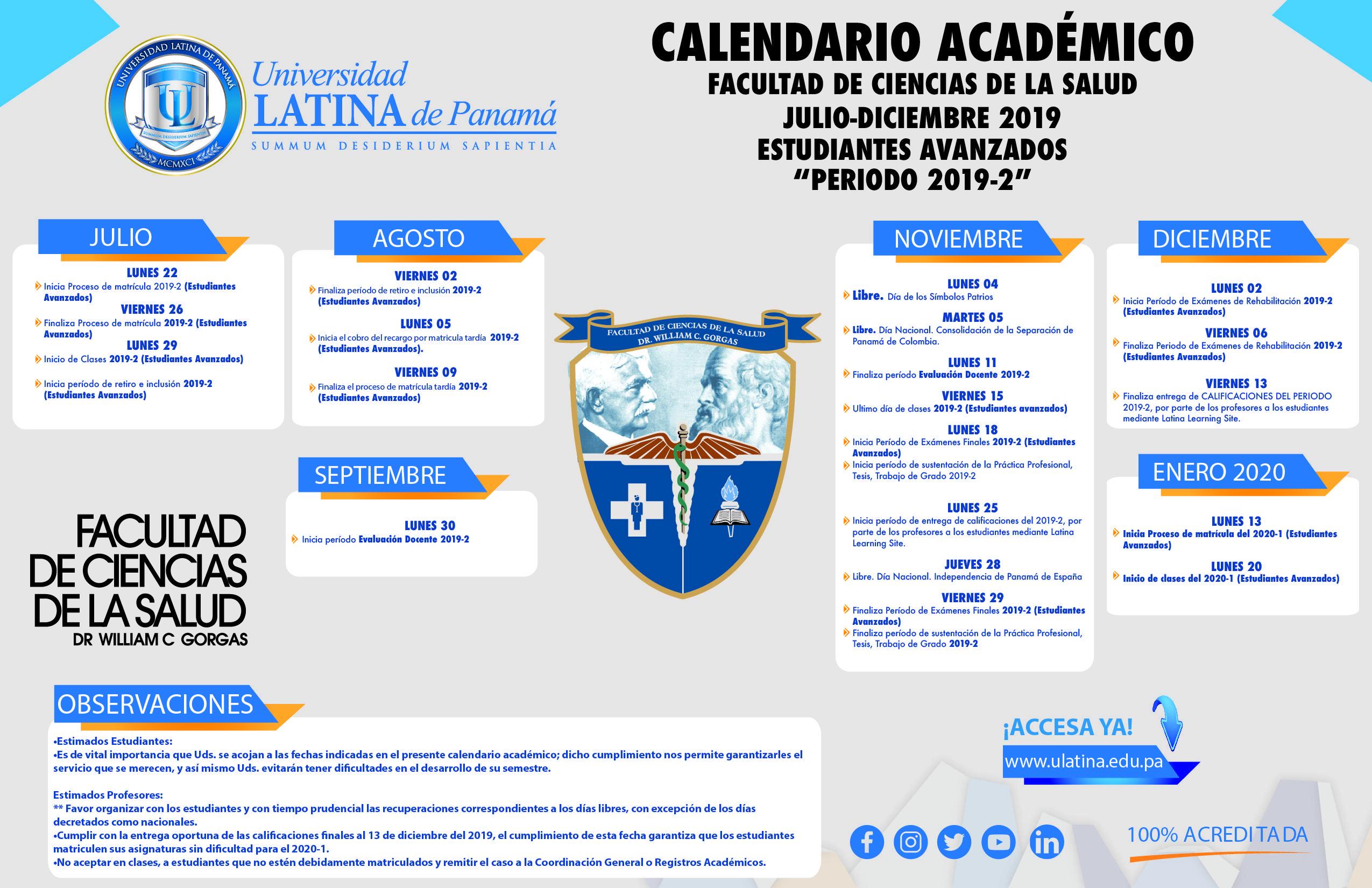 Calendario Panama 2018.Calendarios Academicos Vida De Campus Universidad Latina