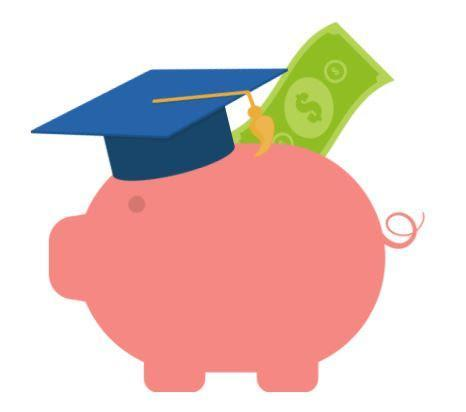 Piggy bank with a dollar coming out of the piggy bank. The piggy bank is wearing a graduation cap on its head.