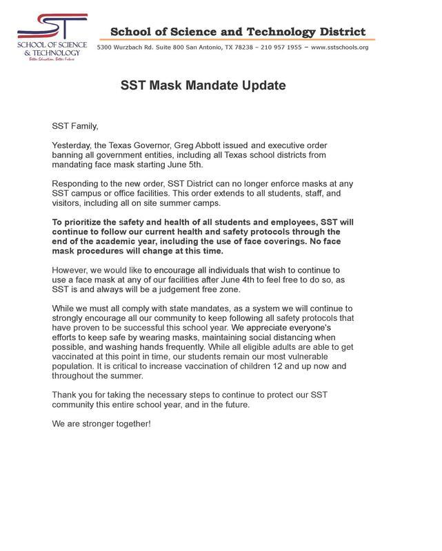 SST Mask Mandate / Actualización del mandato de mascarillas SST Featured Photo