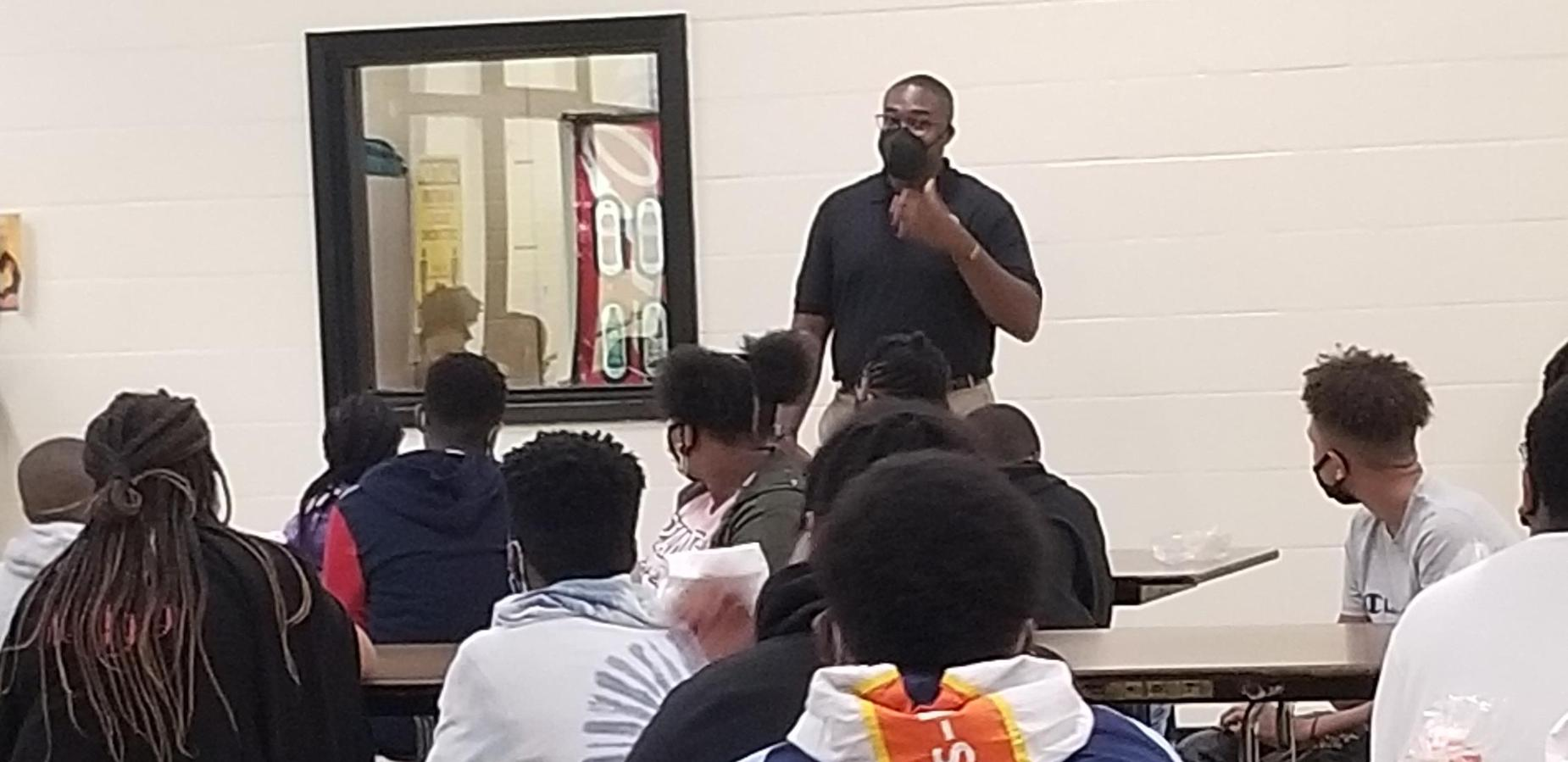 New Assistant Principal, Travis Robinson talking to students