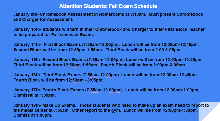 Fall Semester Exams Schedule!!! Featured Photo