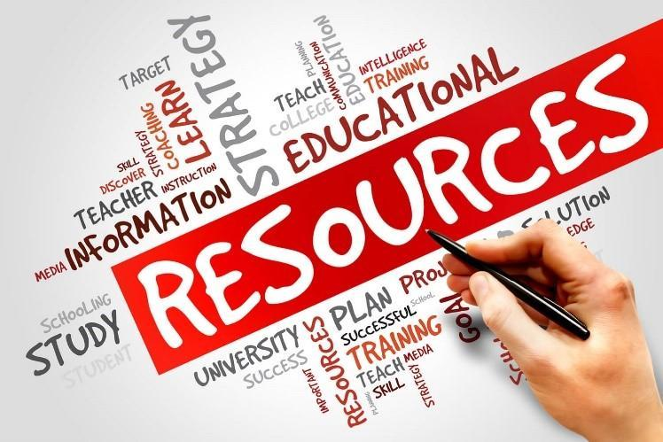 Resources log with Resources in white lettering inside a red box. Surrounding the box are words in different directions like information, plan, training, study, educational and strategy.