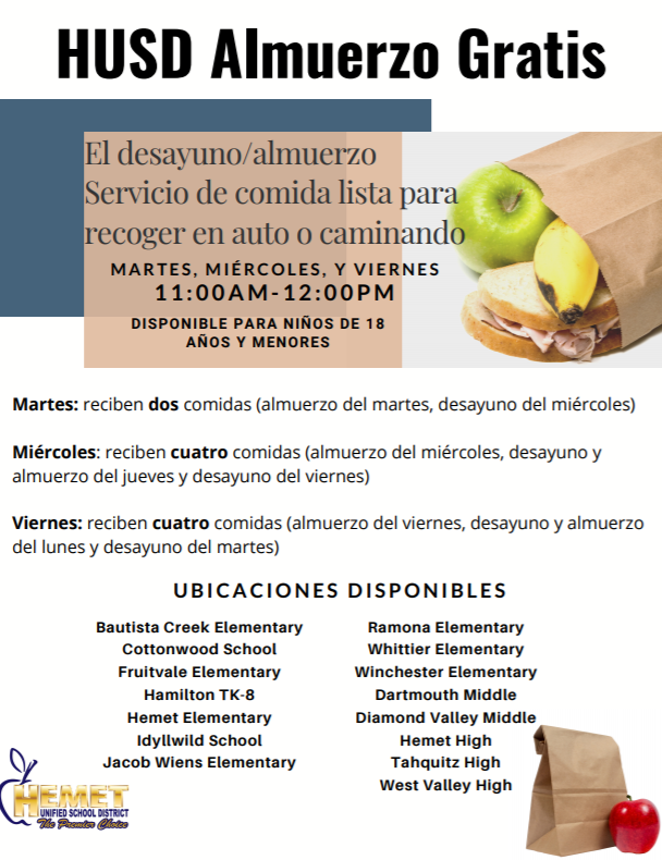 A picture of school lunch items with a brief summary of the article in Spanish