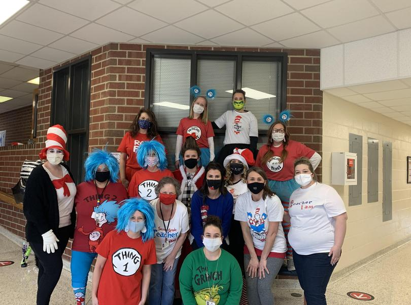 Dr. Seuss dress up day staff picture