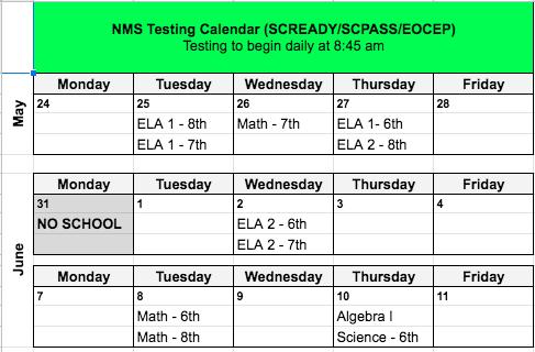 2021 Testing Calendar